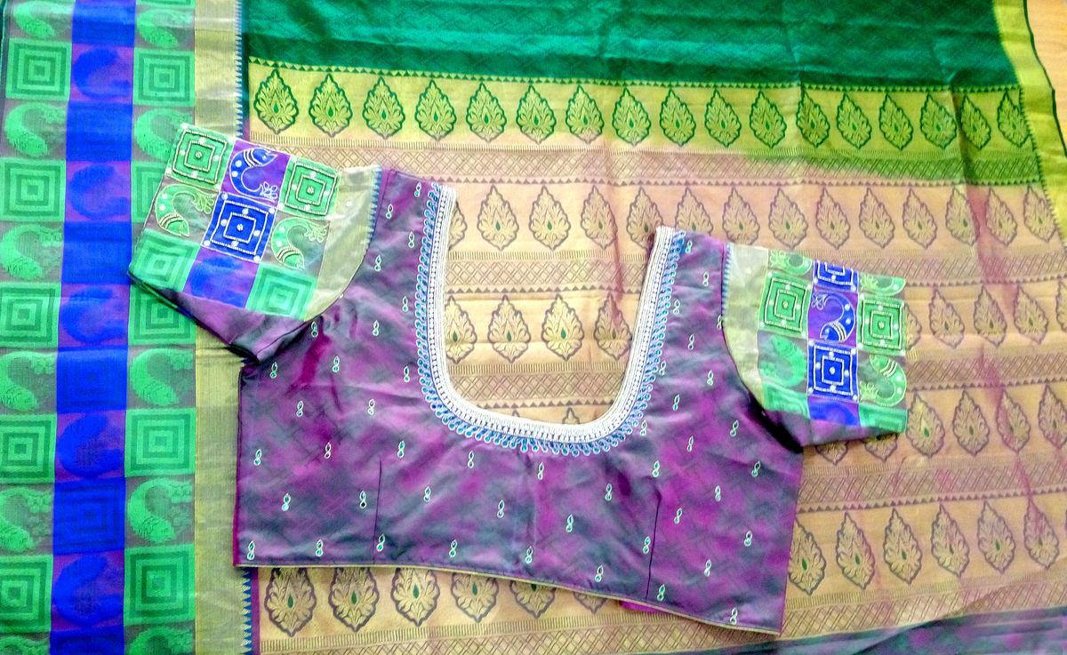 Womens Hand Embroidery Maggam Work Blouse (Purple Colour)