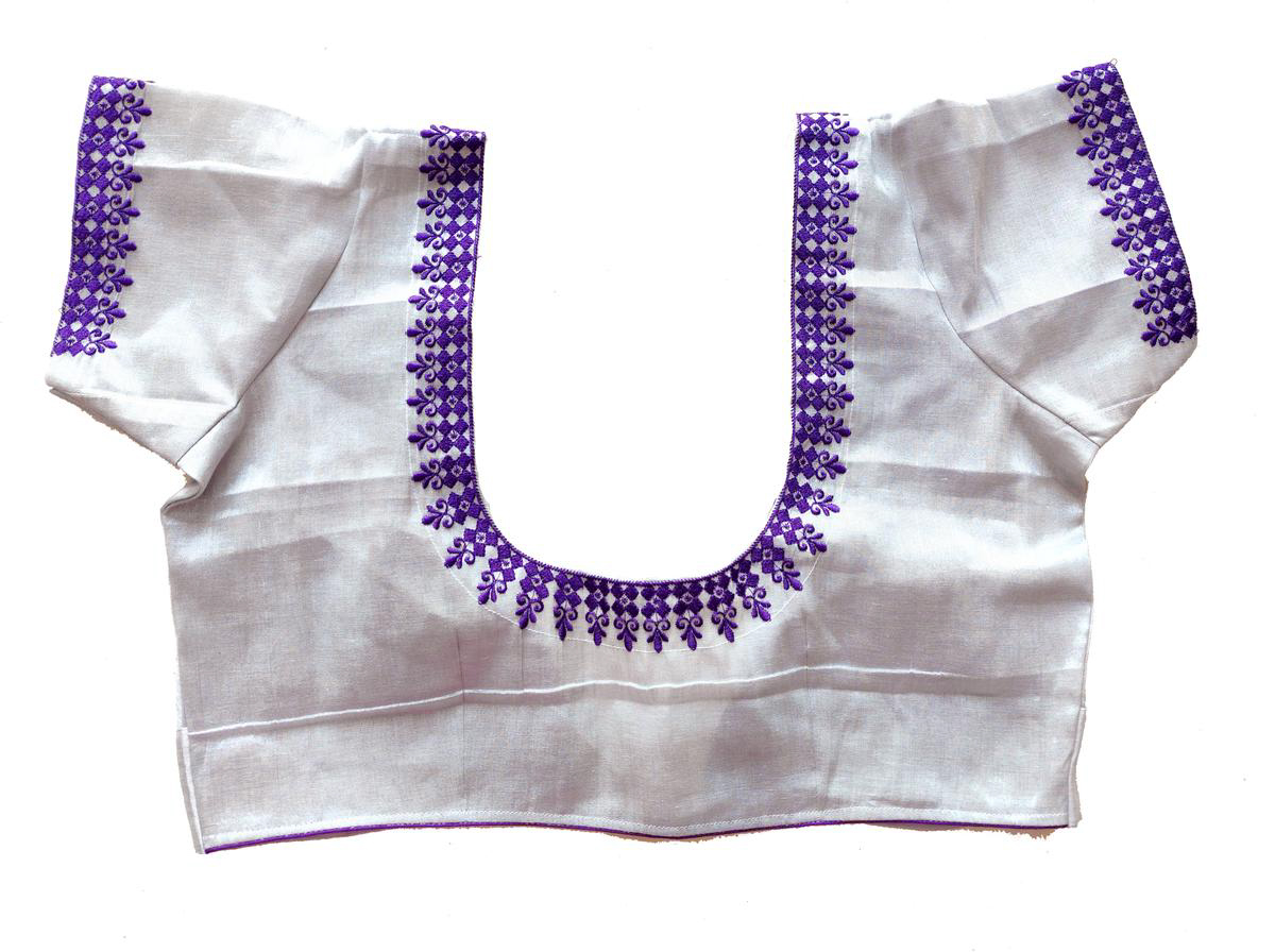 Womens Computer Embroidery Thread Work Blouse (Off-White Colour)