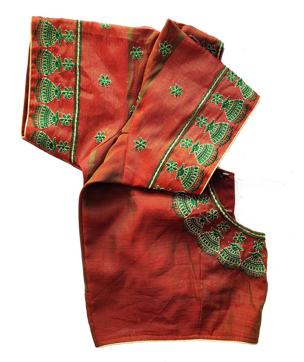 Womens Computer Embroidery Thread Work Blouse (Red Colour)