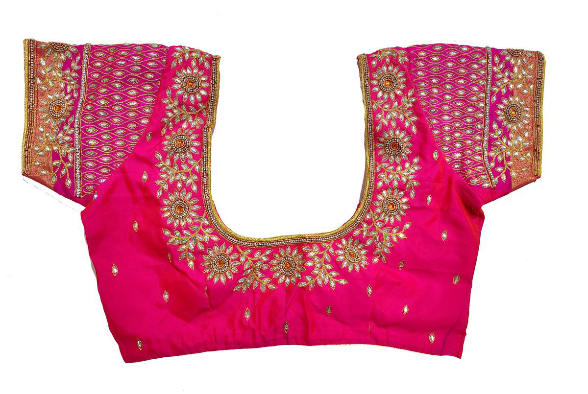Womens Hand Embroidery Maggam Work Blouse (Pink Colour)