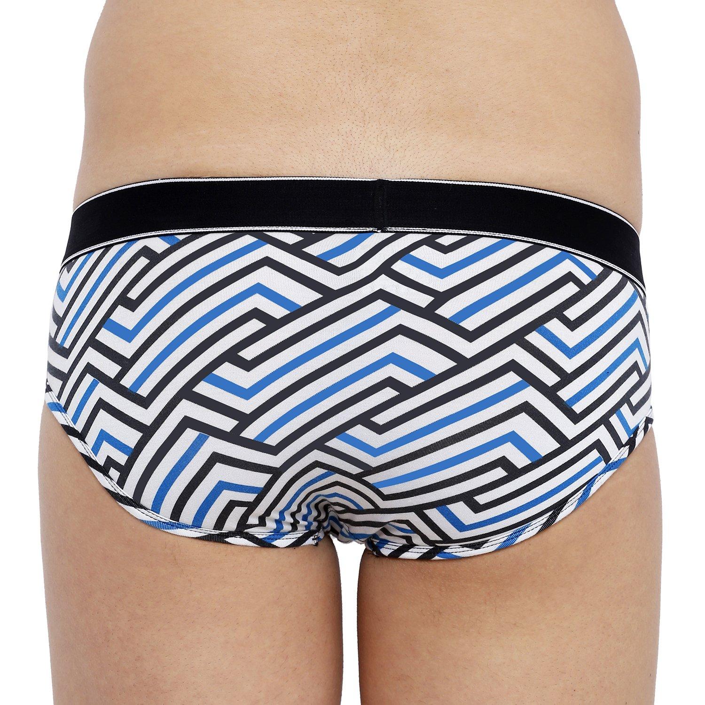 XYXX Men's Stripes Brief (M,White & Blue)