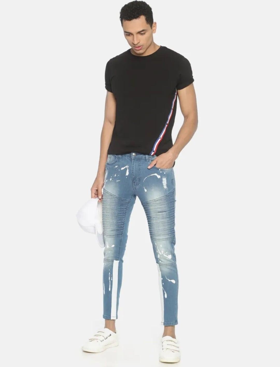 Men's Sky Blue Printed Jeans (30,Sky Blue)