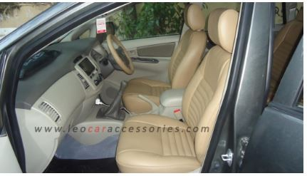 Feather Customized Car Seat Cover For Toyota Innova- Rib Pattern-Baige Color