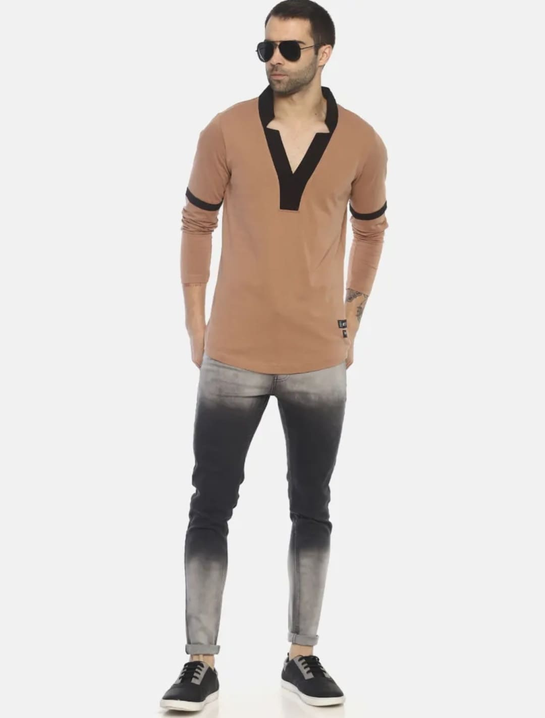 Men's Colour Blocked Jeans (32,Gray)