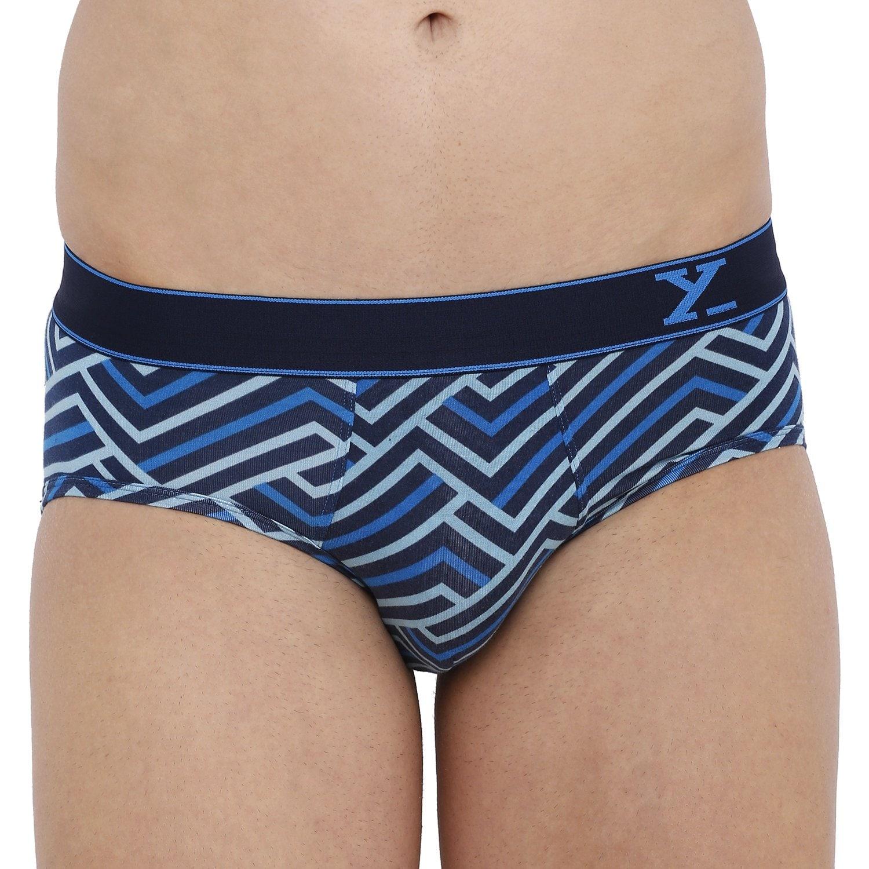 XYXX Men's Stripes Brief (XL,Blue & Black Iris)