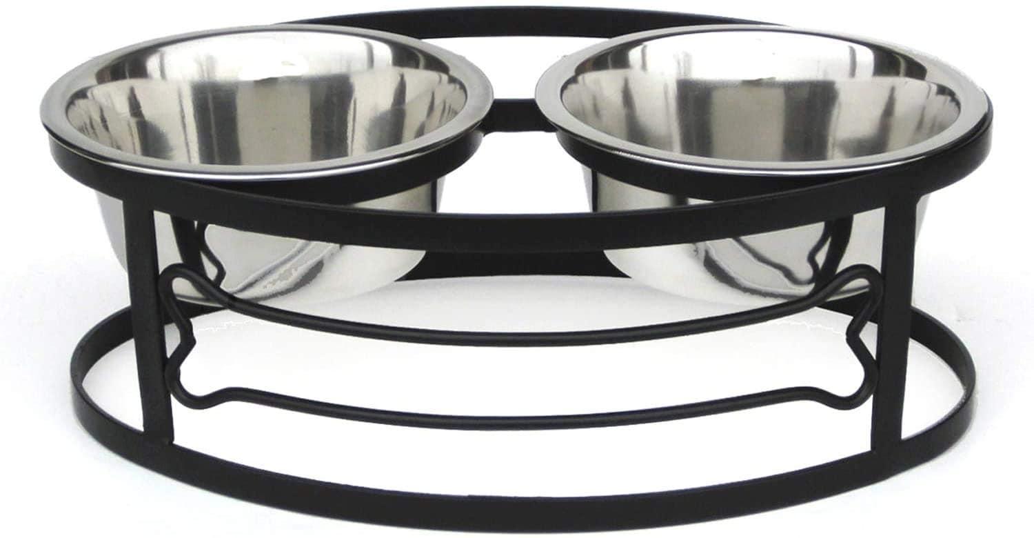 Pets Empire Bone Double Diner Wrought Iron Elevated Dog Bowl Collection Diner For Dogs And Cats Food And Water Bowls With Iron Stand,Pack Of 1 (Medium (450 ML X 2 Bowl ))