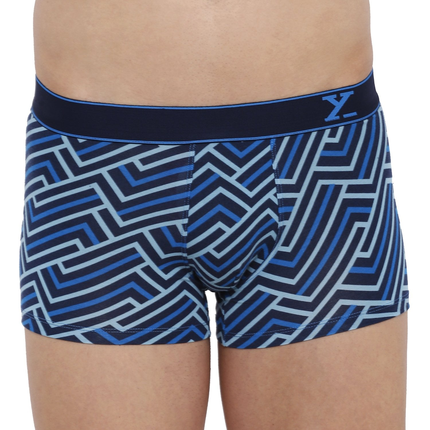 XYXX Men's Stripes Trunk (XL,Blue & Black Iris)