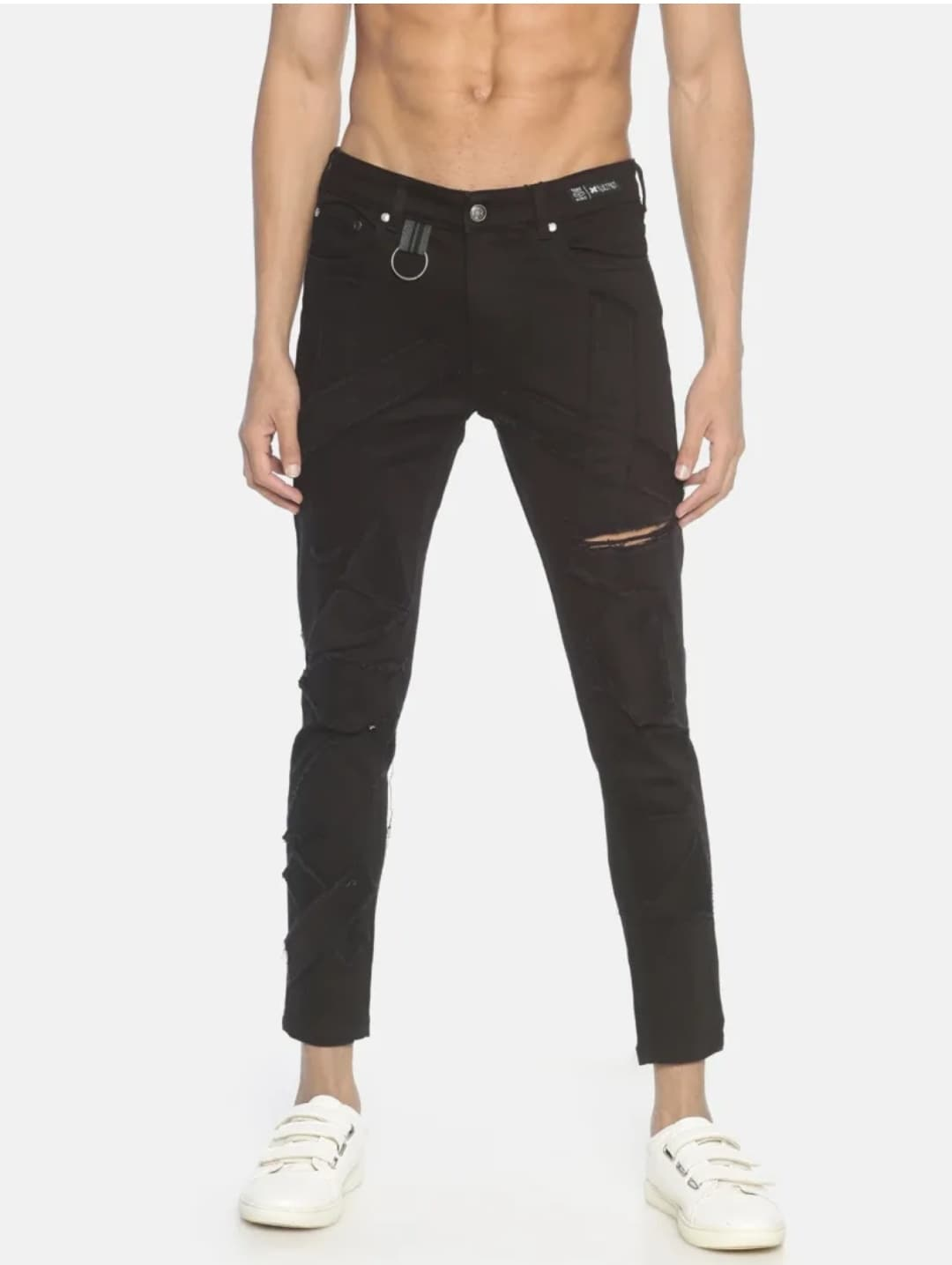 Men's Black Patchwork Jeans (36,Black)