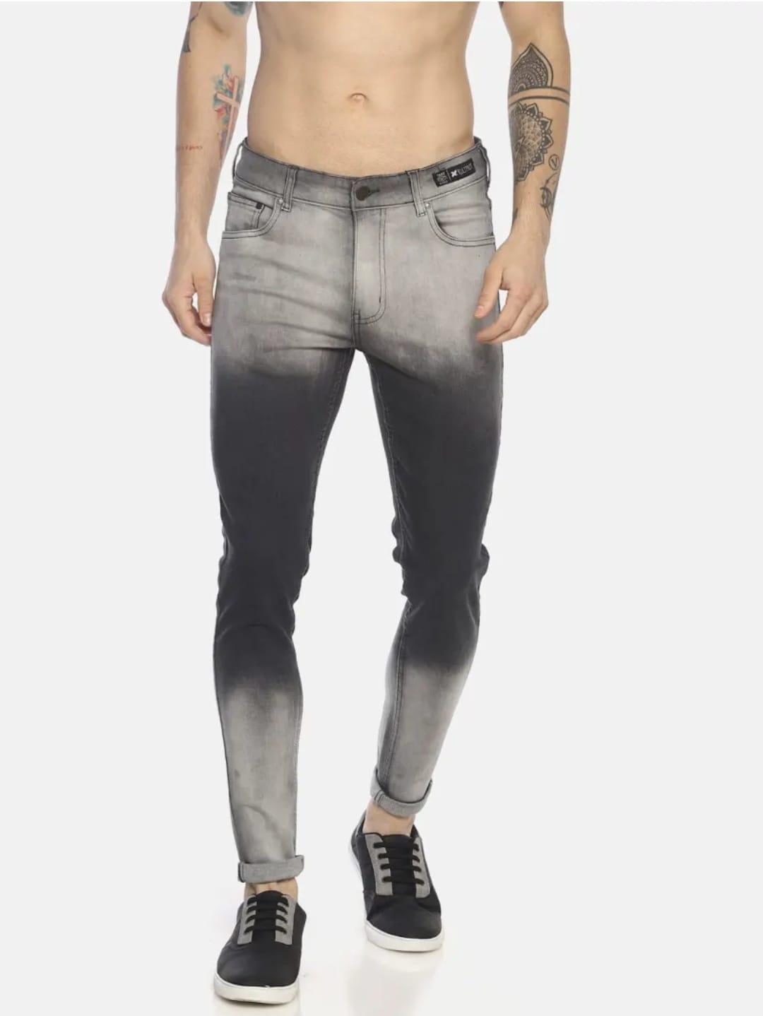 Men's Colour Blocked Jeans (34,Gray)