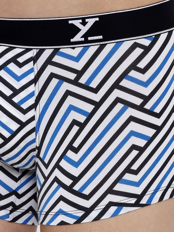 XYXX Men's Stripes Trunk (L,White & Blue)