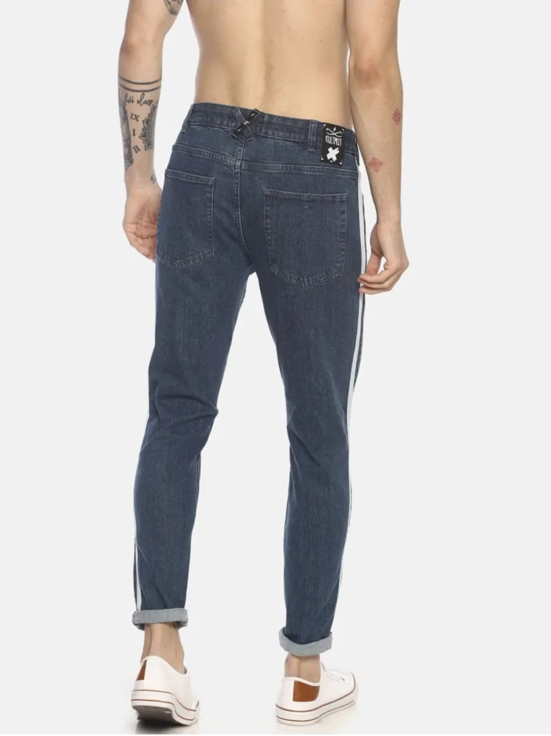 Men's Light Wash Side Stripe Jeans (32,Gray)