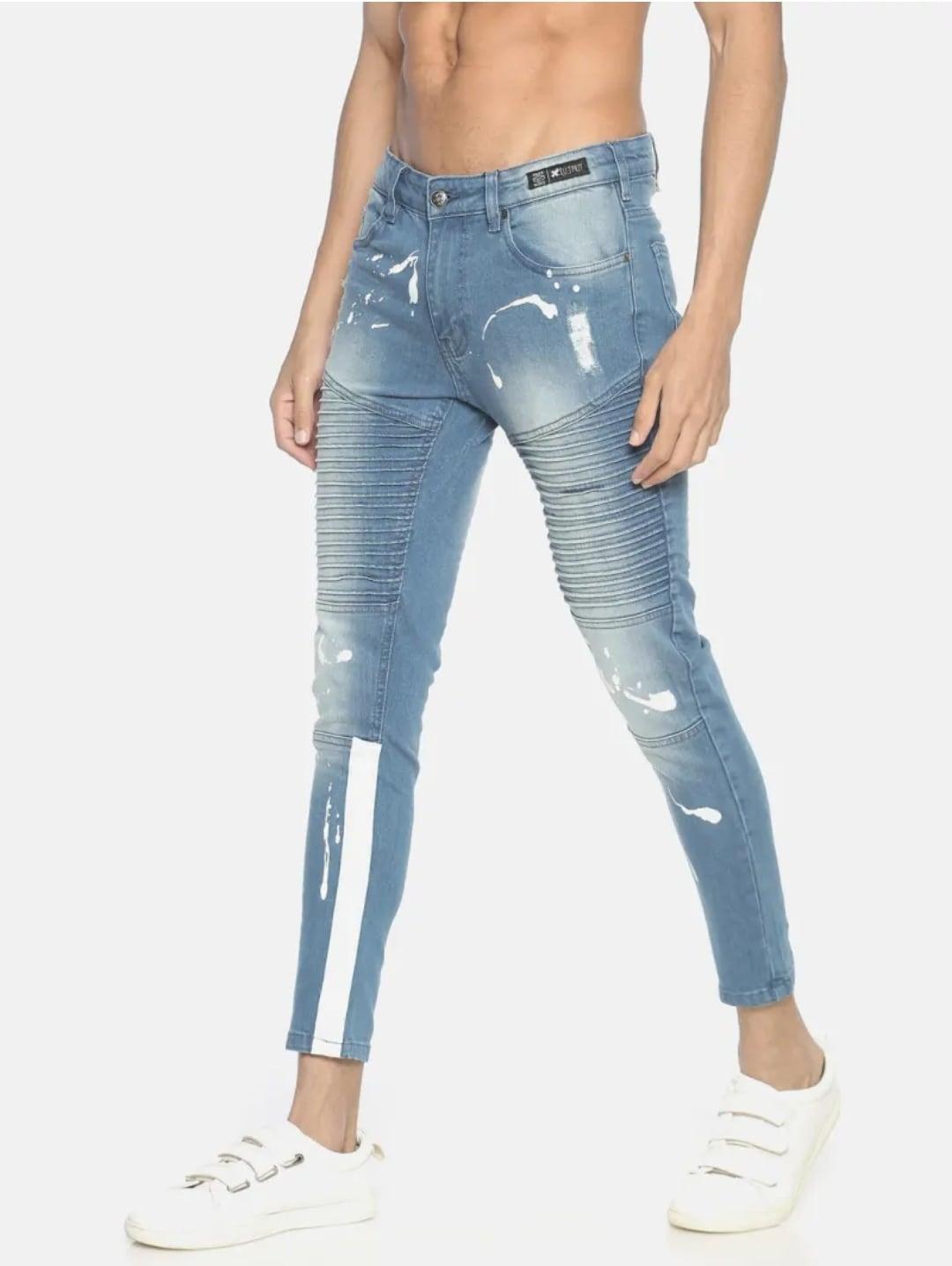 Men's Sky Blue Printed Jeans (34,Sky Blue)