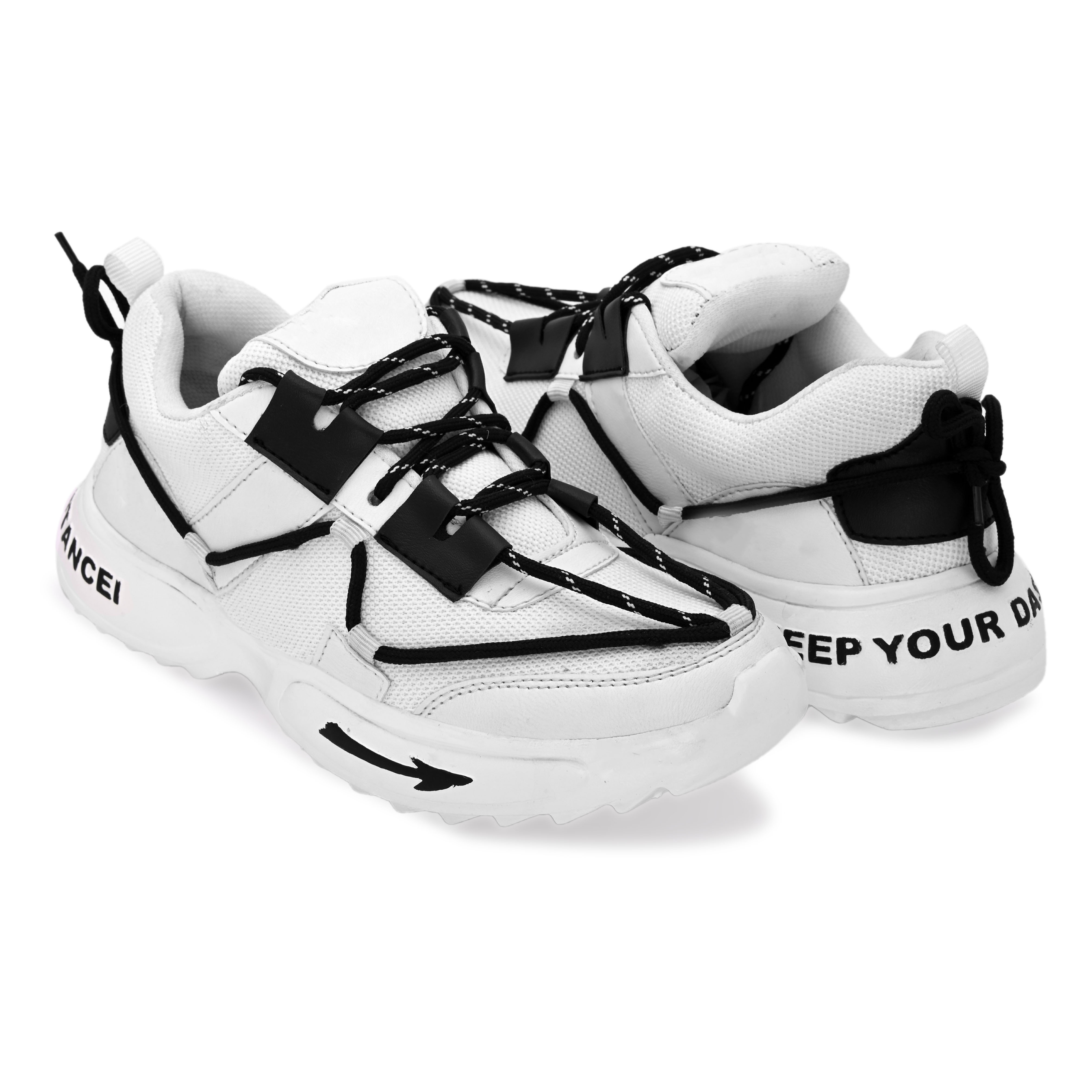 BRIFAR COMFORTABLE & TRENDY SPORTS SHOES ARE RELIABLE FOR ANY BFS0815WHT1 (7-10, WHITE, 4 PAIR)