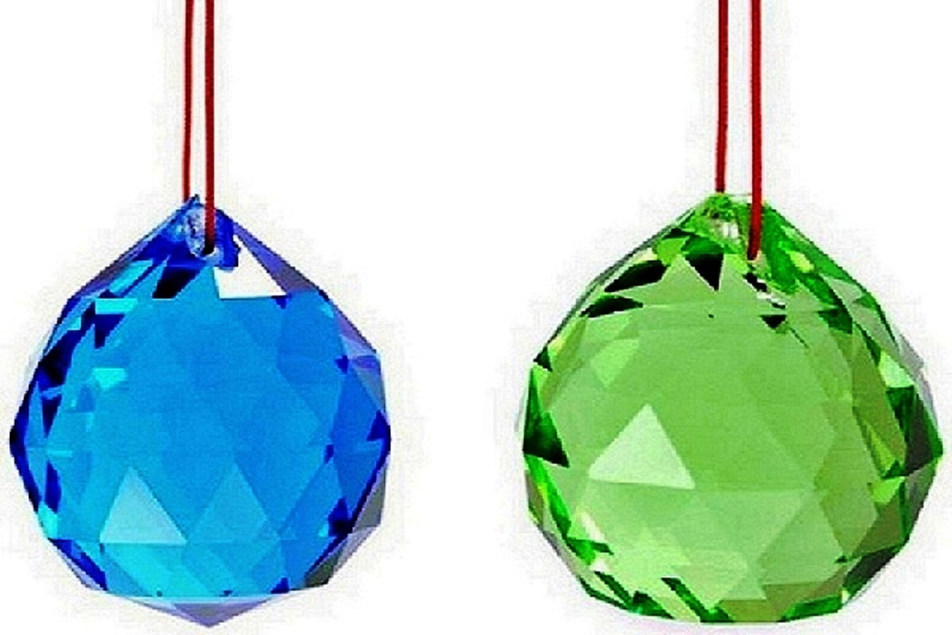 Numeroastro Feng Shui Crystal Balls (Green & Blue) (Pack Of 2) - 4cm
