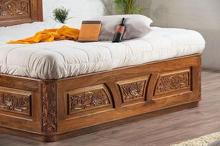 38e5ddcfc0 Solid Wooden Carving Czar Bed With Storage - Beds - Mahdev Art And ...