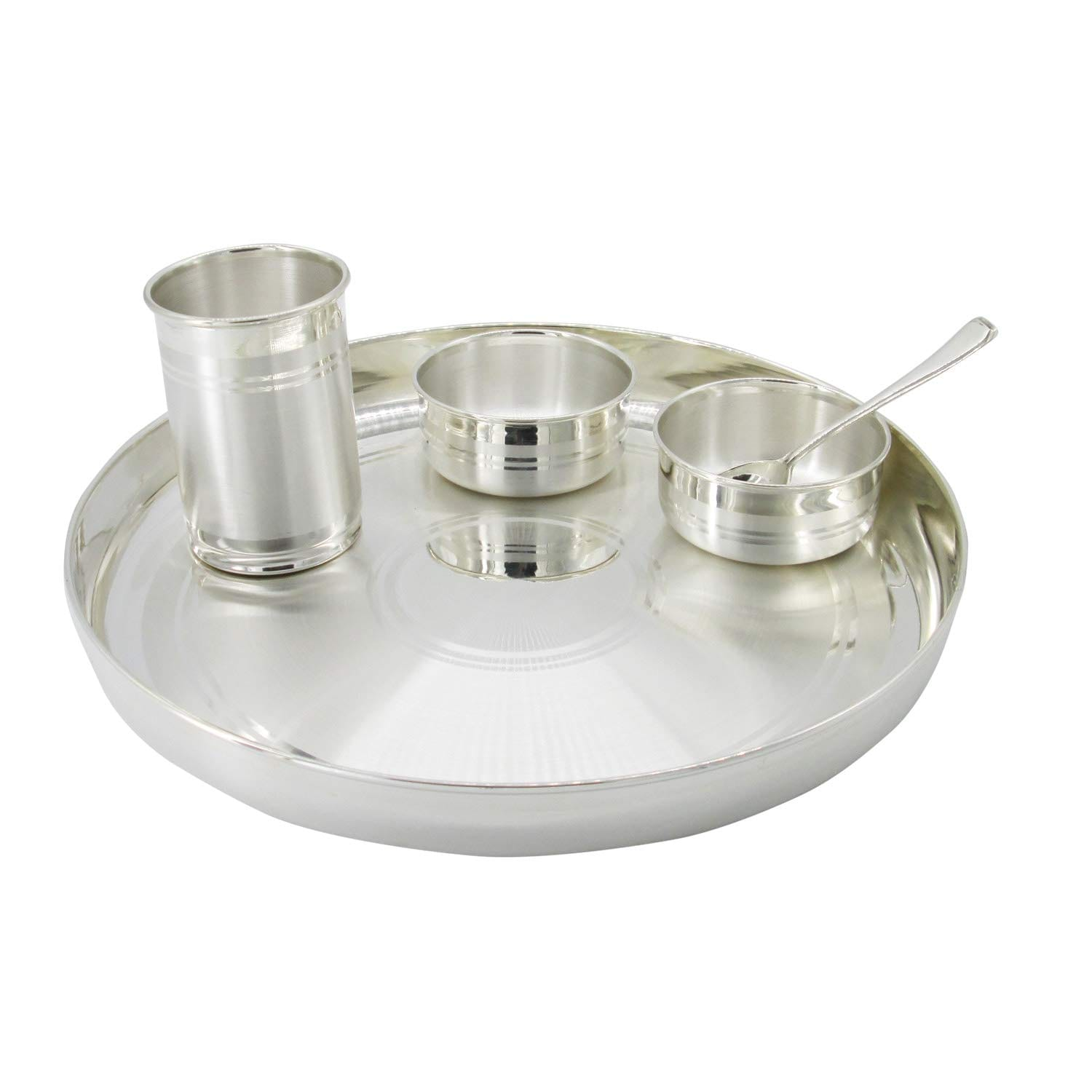 Dinner Set (1 Thali, 2 Bowls, 1 Glass & 1 Spoon With 97% Purity) (550)