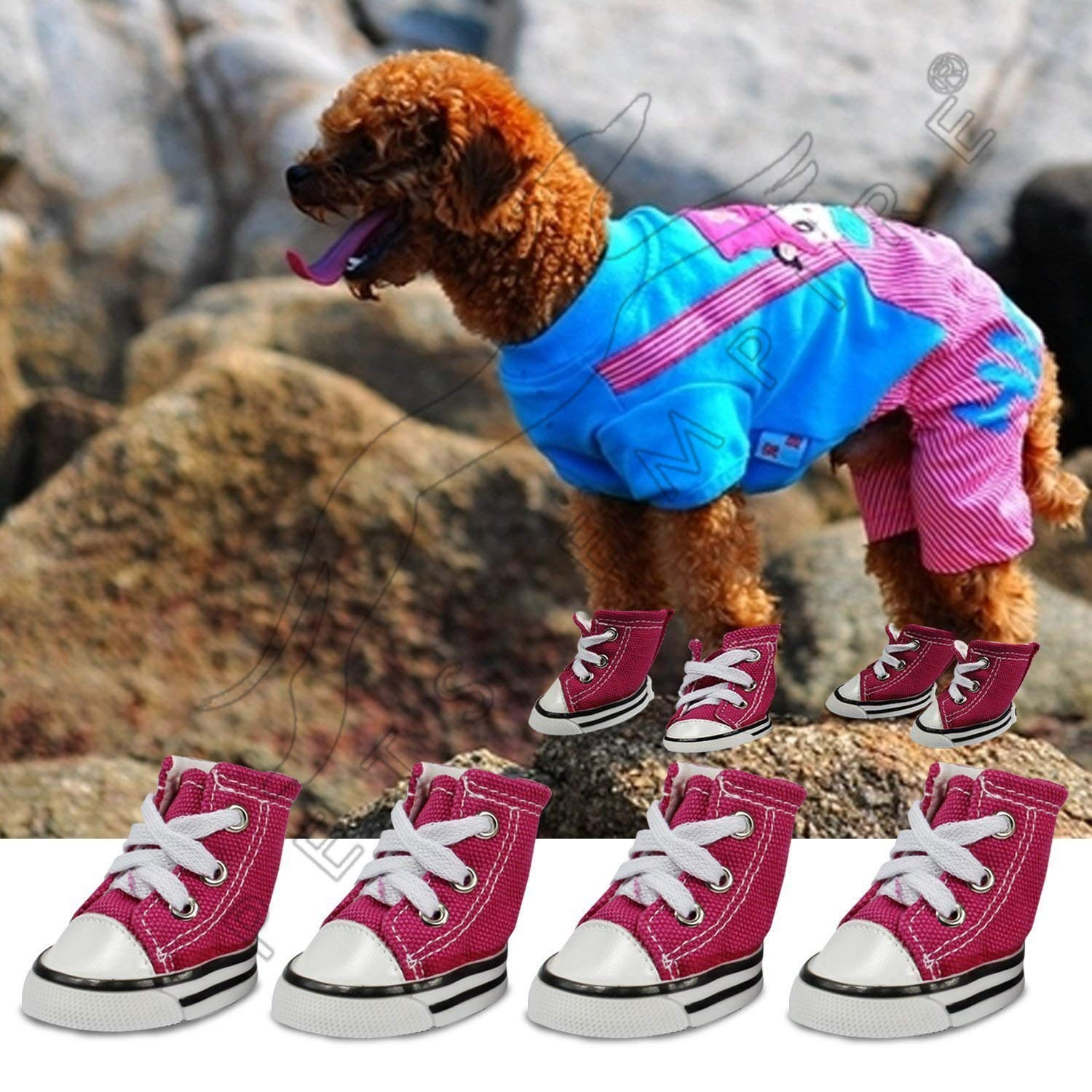 Pet Dog Cute Puppy Nonslip Canvas Sport Shoes Sneaker Boots Rubber Sole 4 Pcs 1 Set - Color May Vary (3# (LxW), 4.7cm X 3.6cm /(1.9inch * 1.4inch))