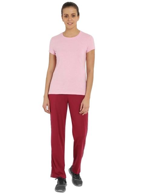 Jockey Womens Rose Petal & Grey Track Pant (M,Rose Petal)