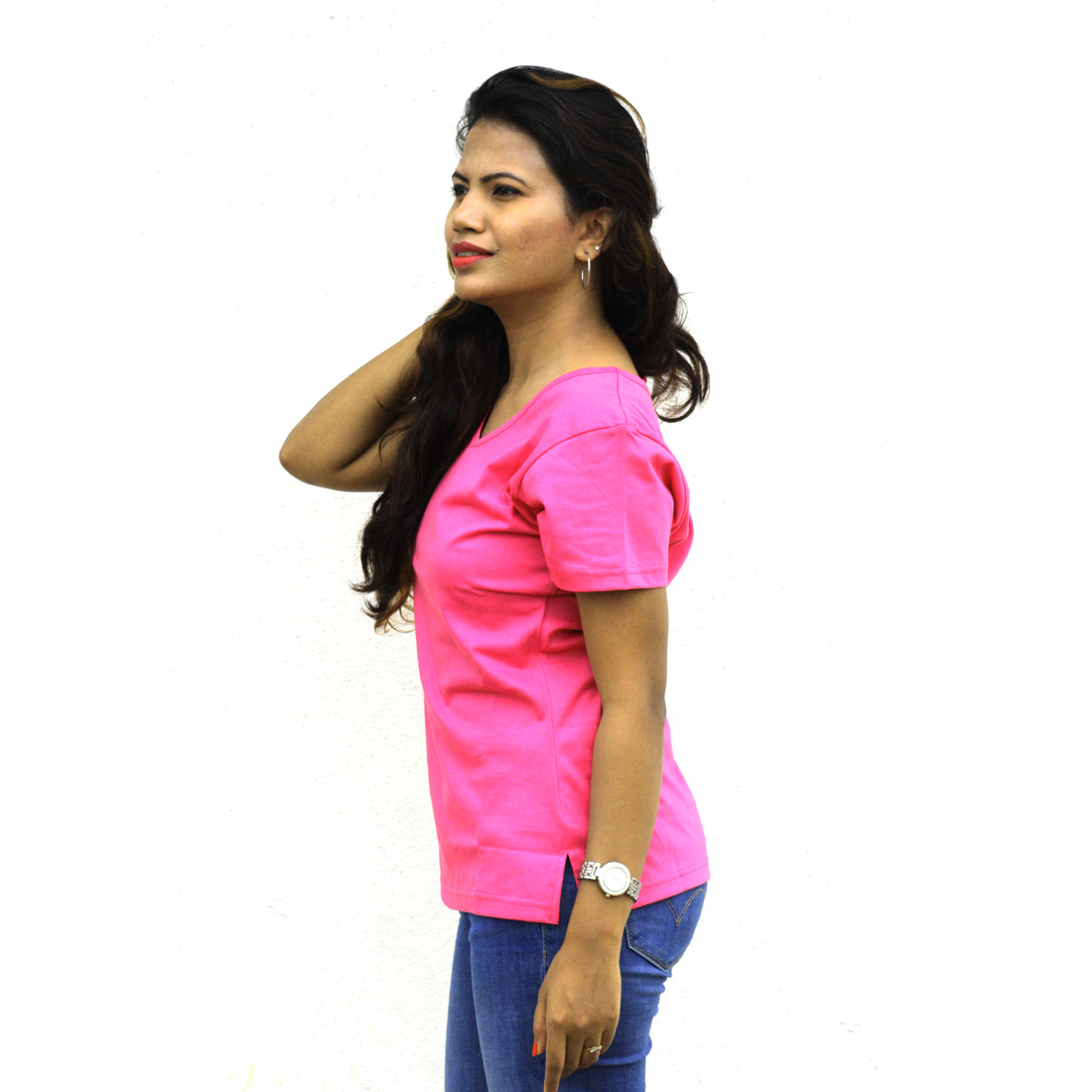 Wiluminaty Organic Cotton V-neck Tshirt - Dark Pink (Extra Large)