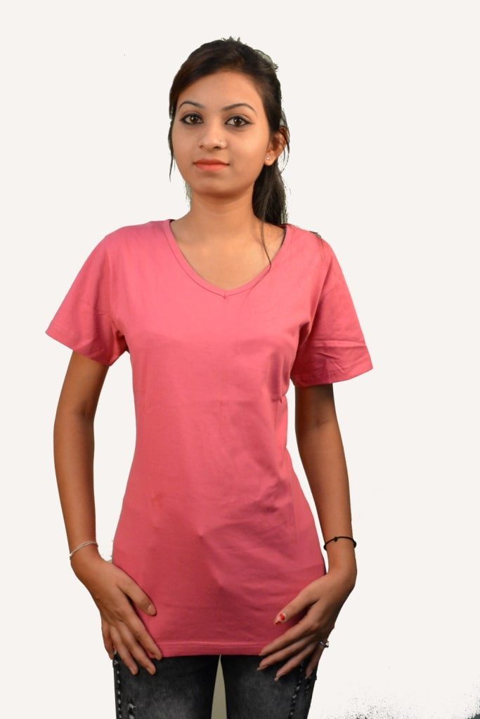 Wiluminaty Organic Cotton V-neck Ladies T-shirt - Red (3XL)
