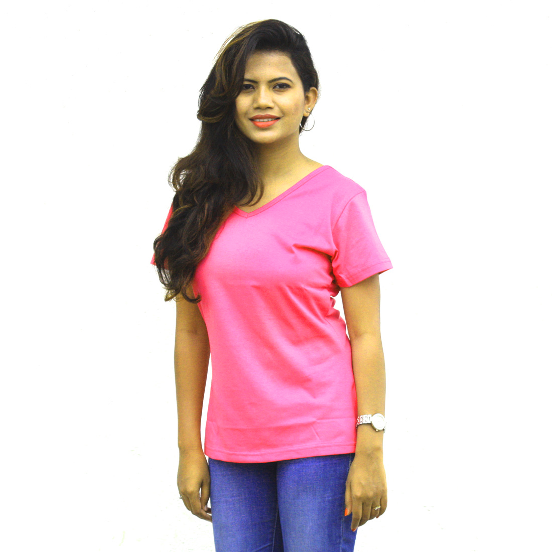 Wiluminaty Organic Cotton V-neck Ladies T-shirt - Pink (5XL)