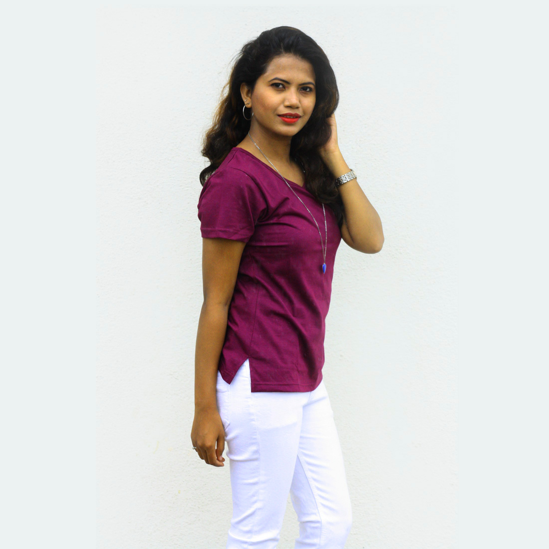 Wiluminaty Organic Cotton V-neck Ladies T-shirt - Maroon (Medium)