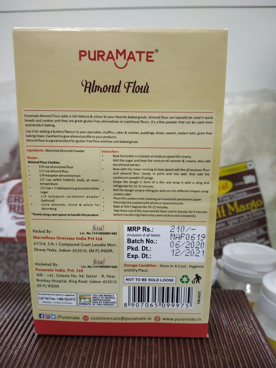 PURAMATE Almond Flour 100 G Cake Ingredients - Divena In