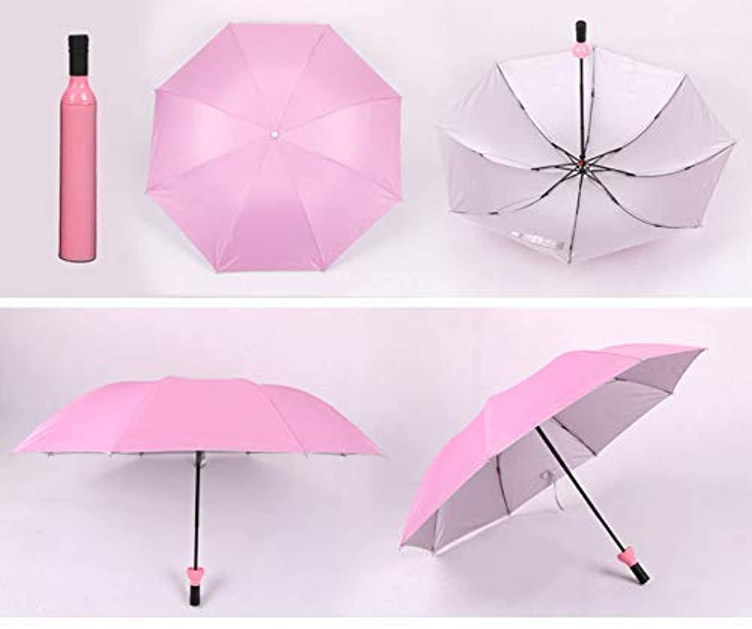 Double Layer Folding Portable Wine Bottle Umbrella With Bottle Cover For UV Protection & Rain