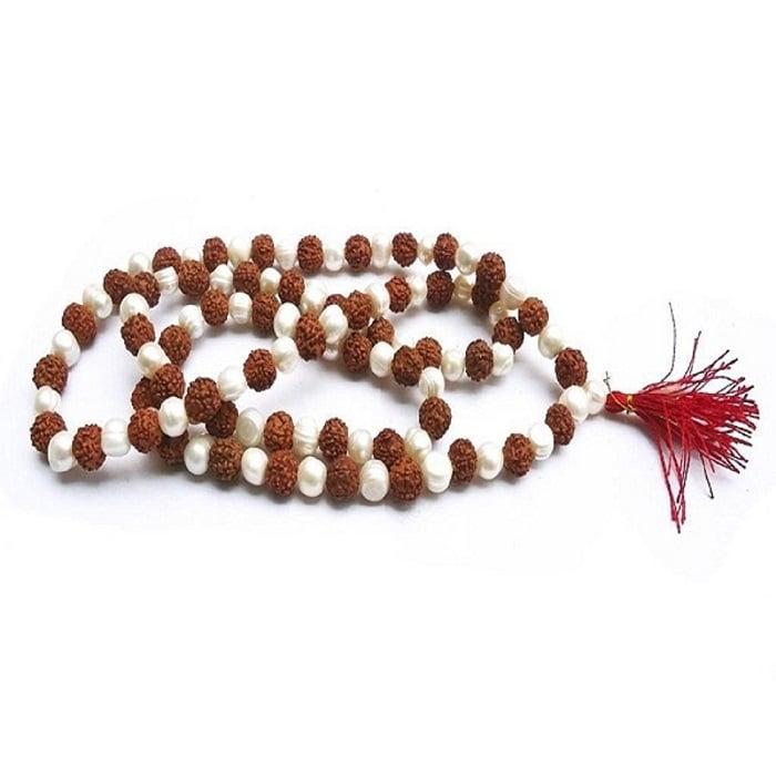Numeroastro Natural & Original Moti | Pearl Rudraksha Mala (6 MM Approx) (1 Pc)