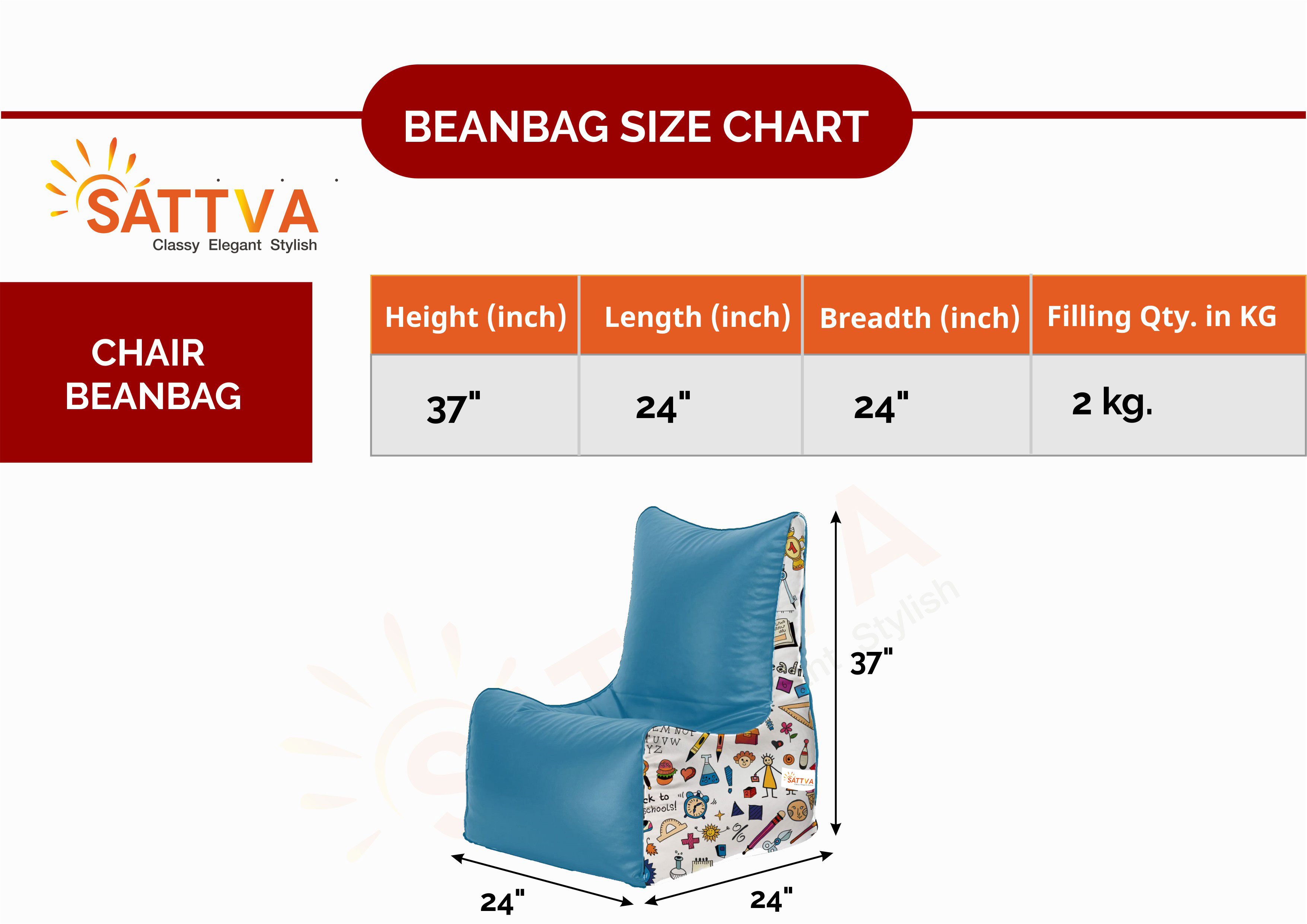 Click To Open Expanded View Sattva Premium Back To School Printed Kids Chair Bean Bag (with Beans)- Royal Blue