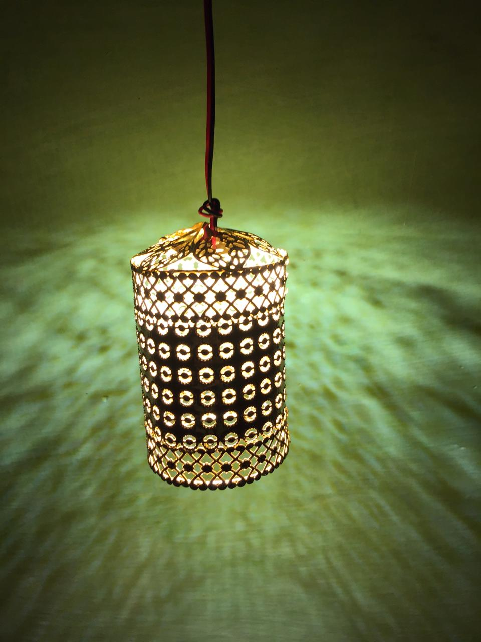 Punched Teen Hanging Lamp Shade 5v Mid Yellow Festival Light For Home