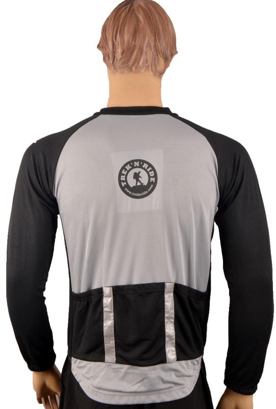 Full Sleeve Cycling Jersey TNR (Black & Grey,M) (Black & Grey,M)