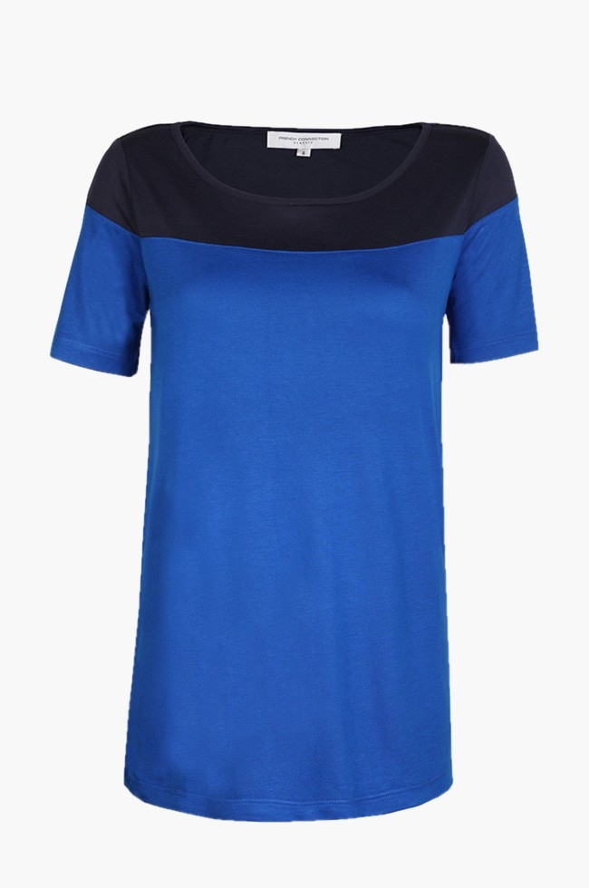 French Connection Blake Block Jersey Electric Blue [76AAM]