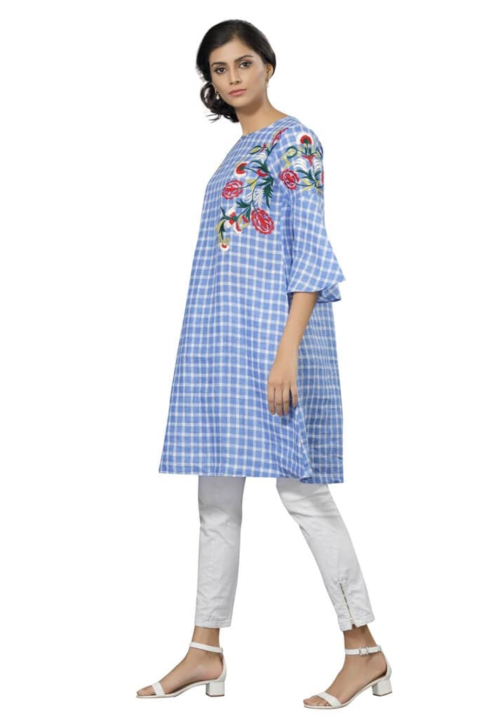 170585 Checkered Blue Embroidery Tunic (M,Blue)