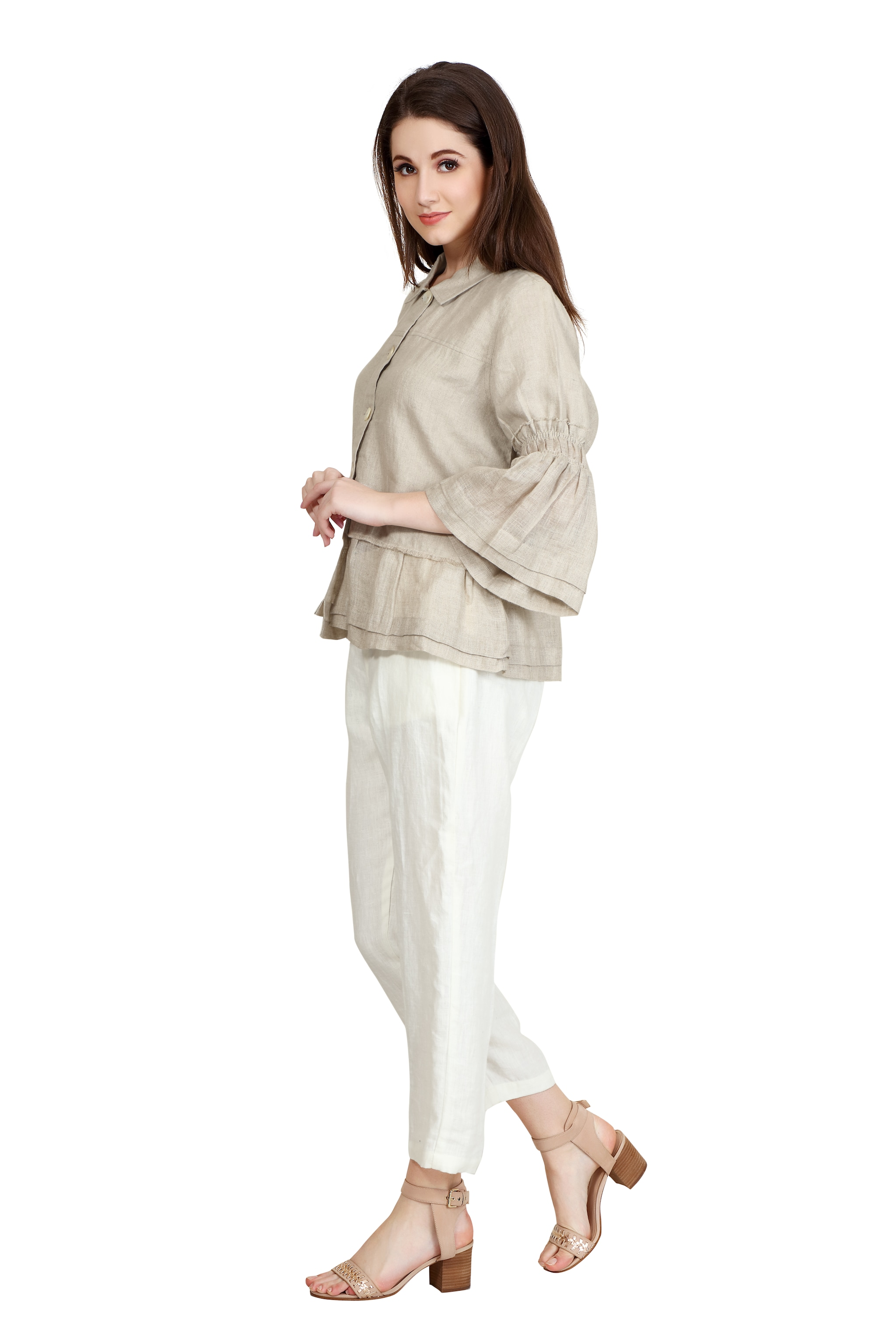 170579 Natural Ruffled Hem Linen Shirt Jacket XS - Natural (XS,Natural)
