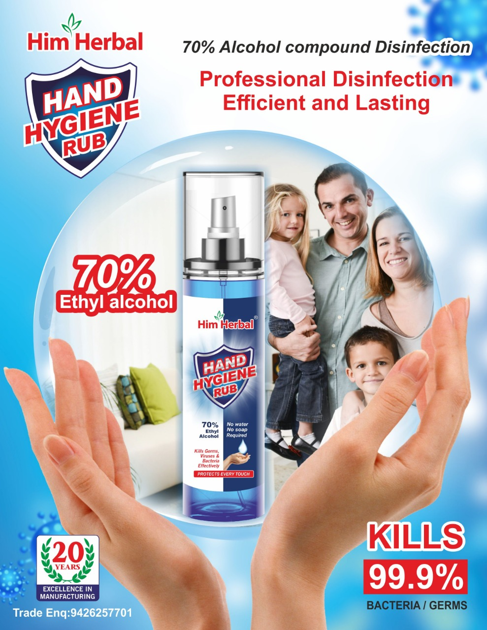 Hand Hygiene Rub 250ml Xs Combo Fda Approved Safe On Skin And Surfaces 70% Ena