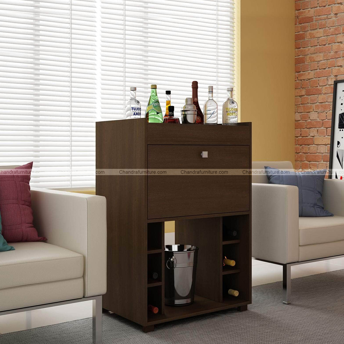 Chandra Furniture Shochu Bar Cabinet With Bottle Holder In Brown Finish