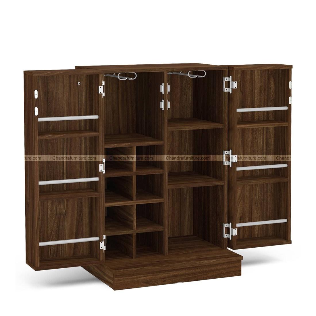 Chandra Furniture Hibiki Bar Cabinet In Walnut Brown Finish