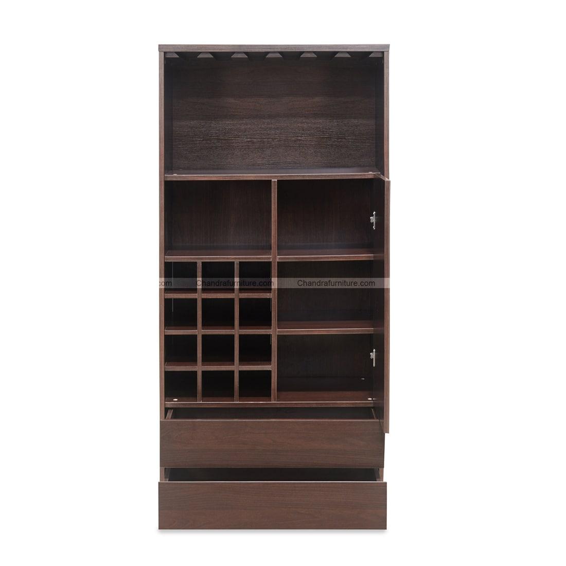 Chandra Furniture Daniel Big Bar Cabinet In Dark Walnut Finish