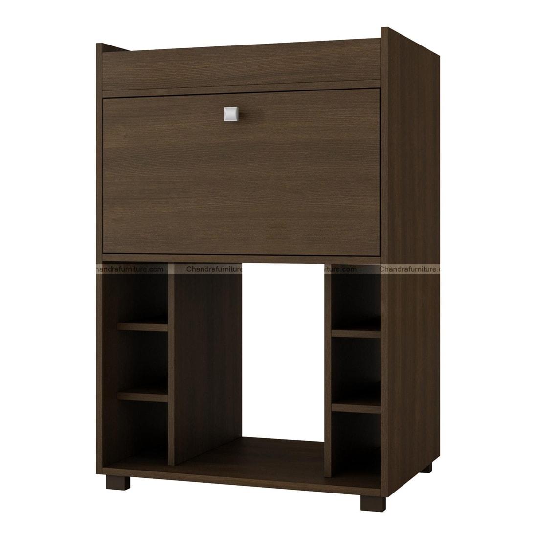 Chandra Furniture Shochu Bar Cabinet With Bottle Holder In Brown Finish