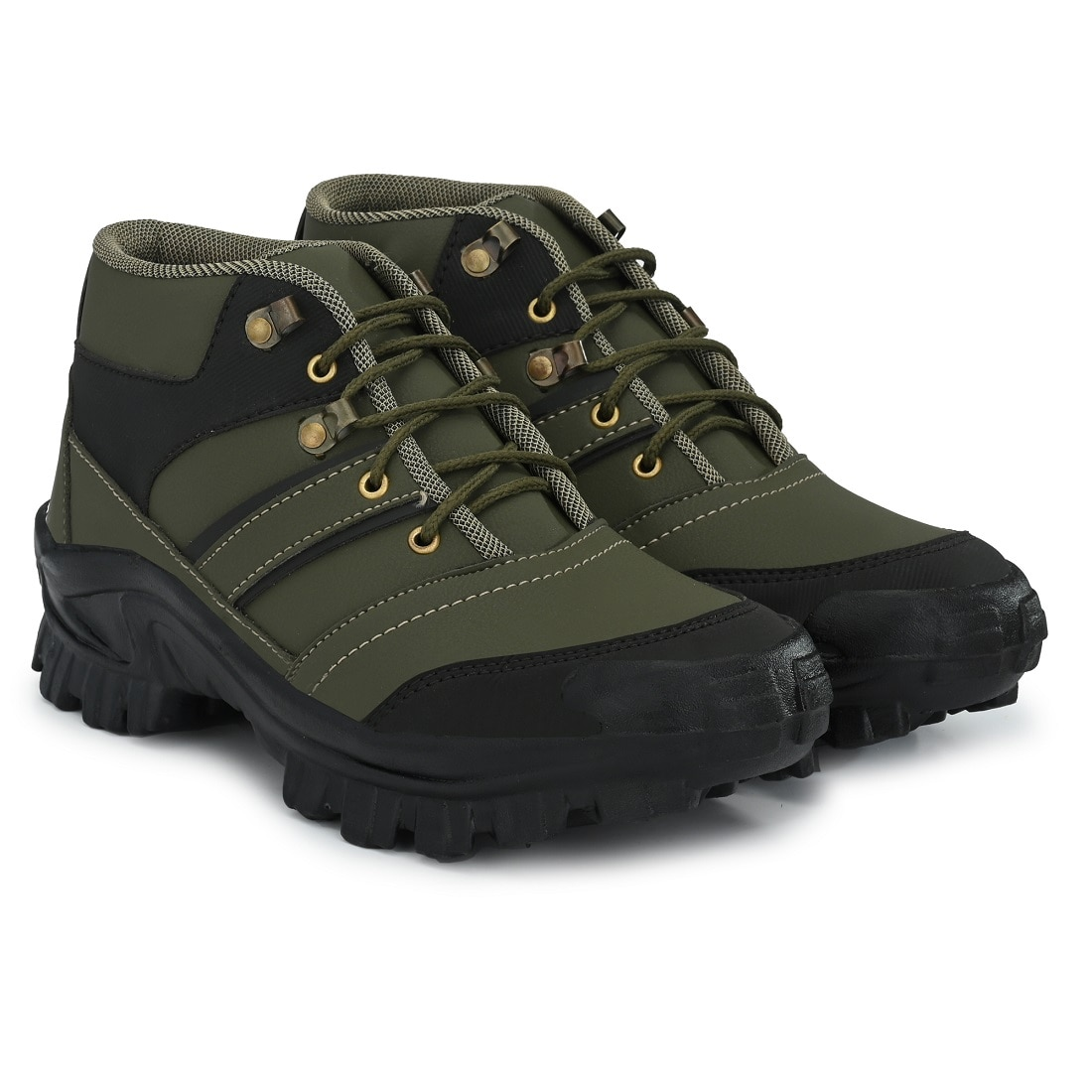 BUCIK OLIVE SYNTHETIC LEATHER CASUAL SHOE BCK091-OLIVE (Olive,6-10,8 PAIR)