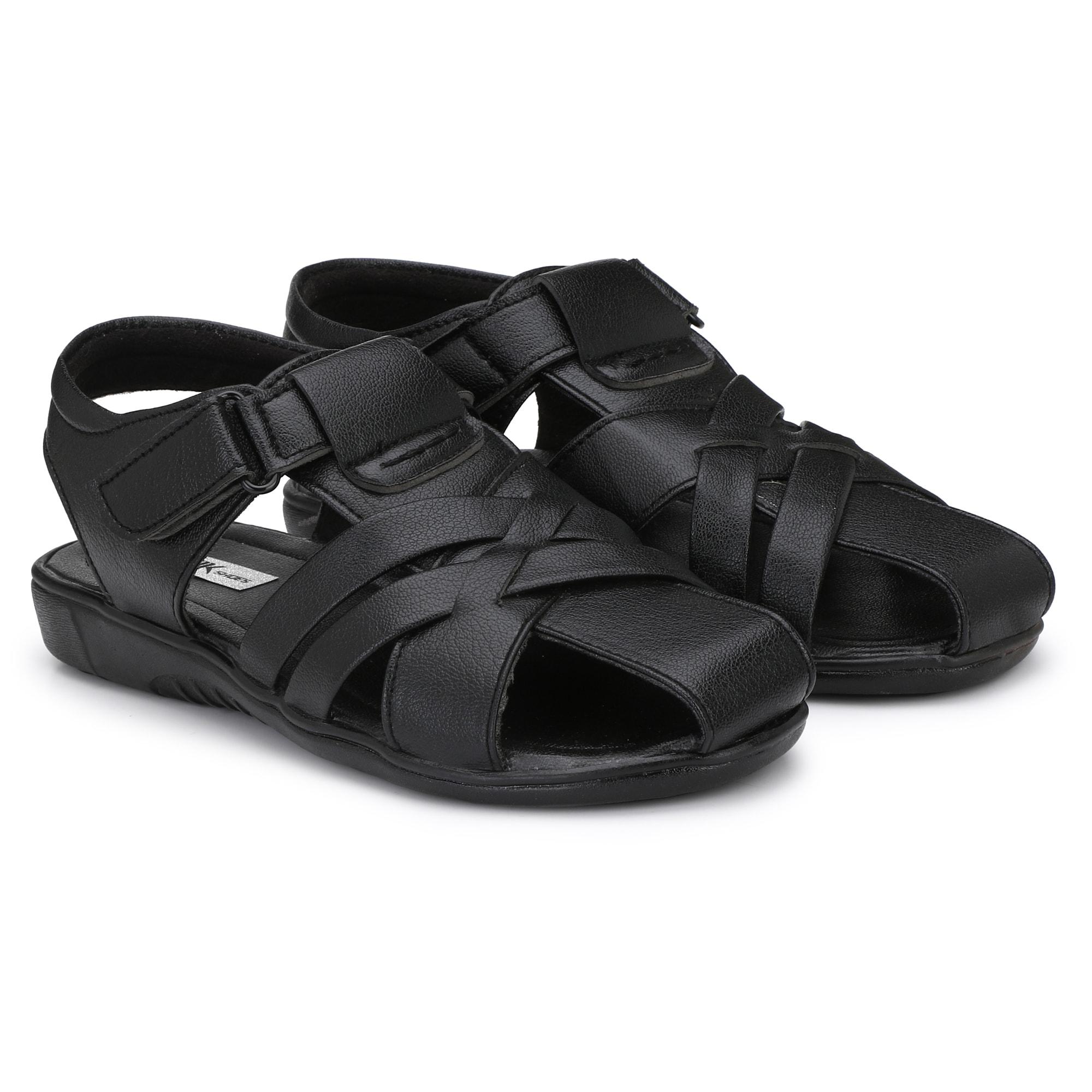 BUCIK Men's BLACK Synthetic Leather Casual Sandal BCK1021-BLACK (Black,6-10,8 PAIR)