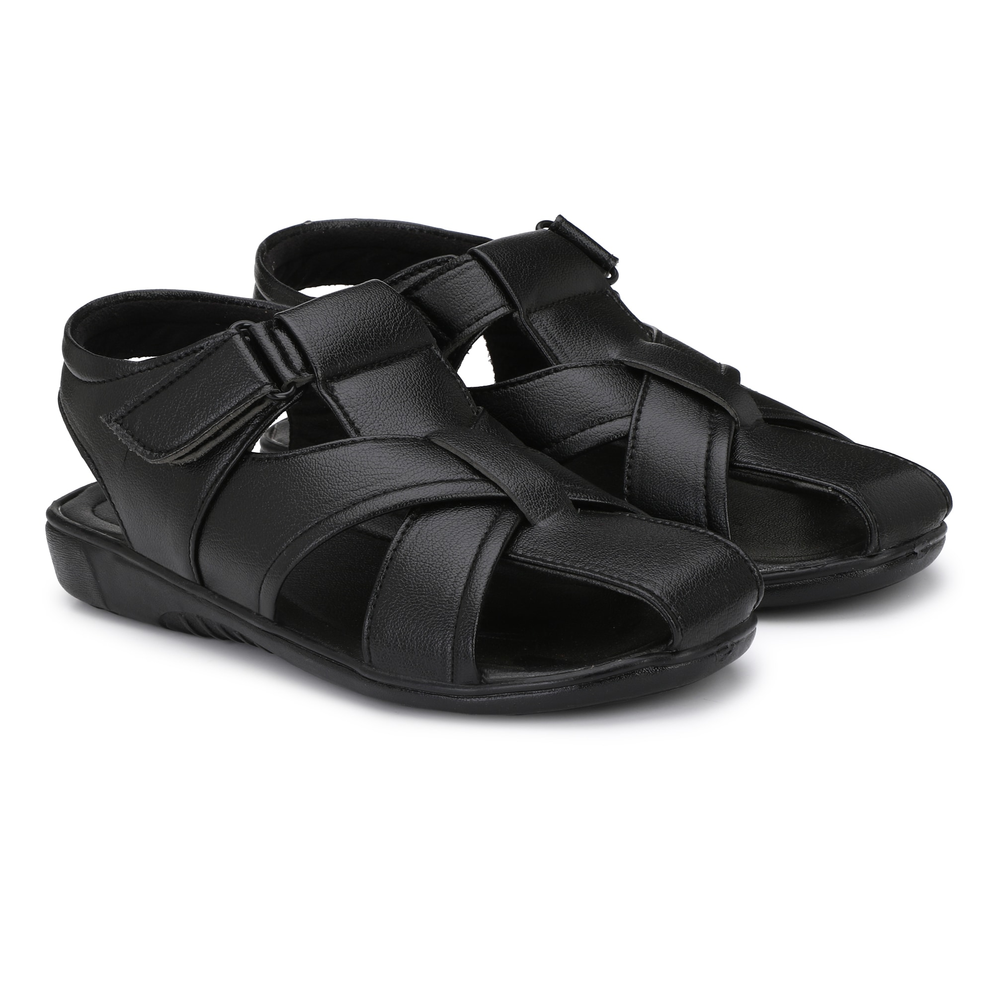 BUCIK Men's BLACK Synthetic Leather Casual Sandal BCK1020-BLACK (Black,6-10,8 PAIR)