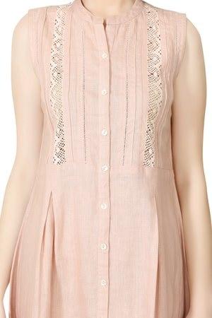 # E203 Blush Pink Shift Dress With Lace Detail