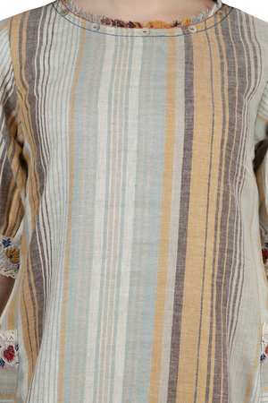 # 202029 Mustard Woven Striped Twin Pocket Linen Dress