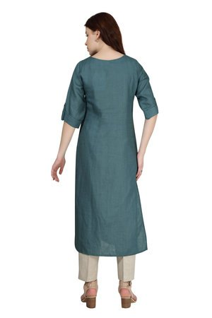 # 180916 Teal Solid Linen Tunic With Placket Embroidery