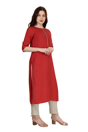 180916 Ruby Solid Linen Tunic With Embroidered Placket