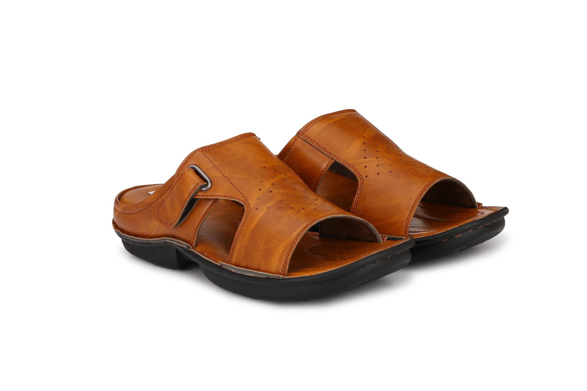BUCIK Men's Tan Synthetic Leather Casual Sandals BCK074-TAN (Tan,6-10,8 PAIR)
