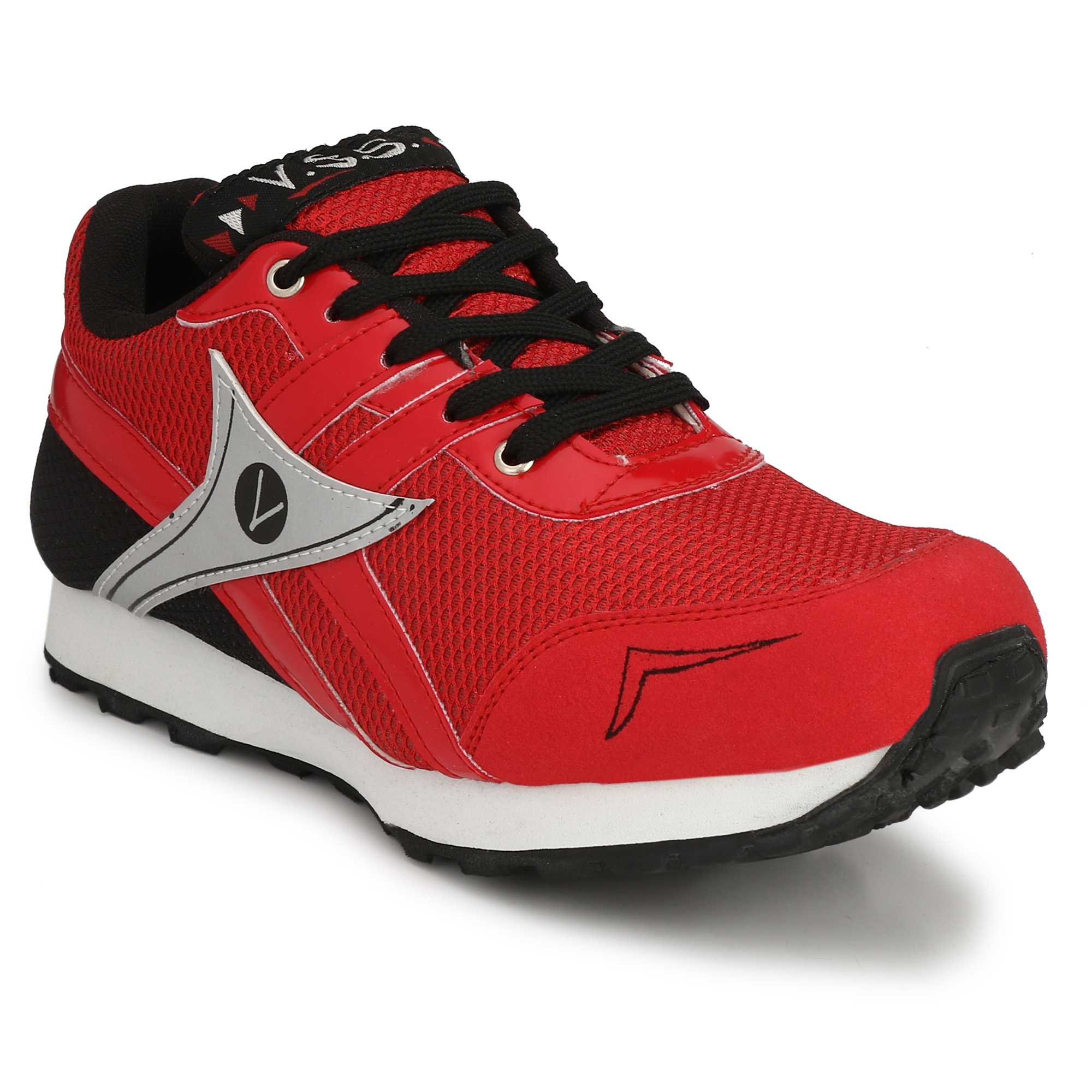 VSS Men's Red Suede Jogging Sports Shoes  BCK036-RED (Red,6-14,8 PAIR)
