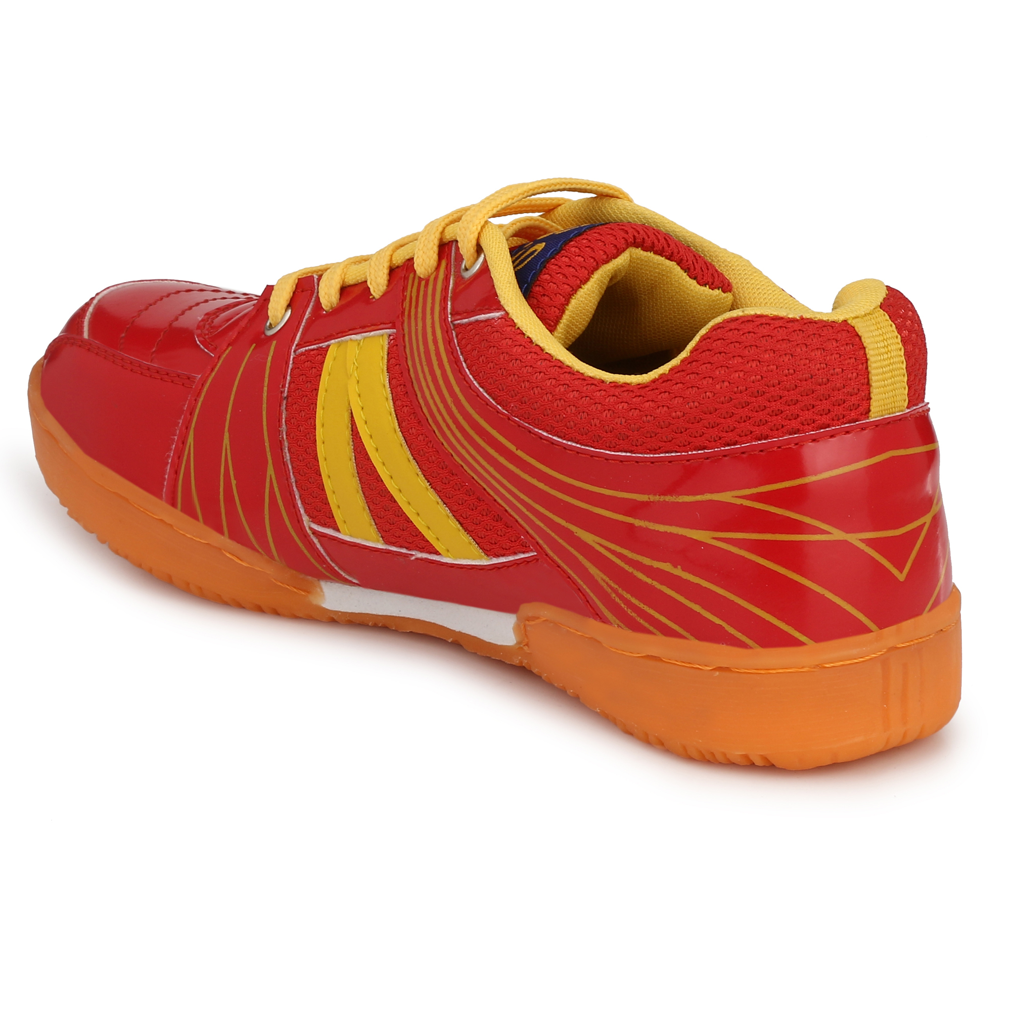 BUCIK Men's Red Synthetic Leather Non Marking Badminton Sports Shoes  BCK042-RED (Red,6-12,8 PAIR)